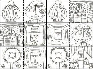 Hundertwasser Coloring Book Google Search Hundertwasser Kunstunterricht Fur Kinder Kunst Arbeitsblatt