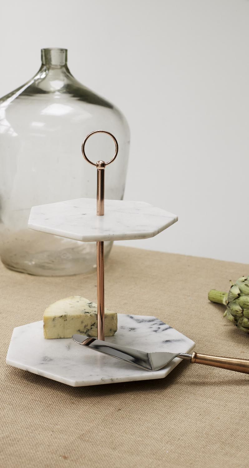 Marble is having a moment and paired with warm metallic copper our handcrafted Double Tiered Marble Cake Stand with its angular lines and unusual hexagonal ... & Double Tiered Marble Cake Stand | Marble cake Tablewares and Marbles