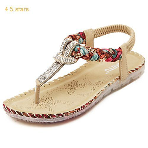 60a68ac76d0 Zicac Womens Summer Rhinestone Bead Bohemia Folk Round Dunlop Clip Toe  Sandals Boho Beach Flip Flops Flat Elastic T-Strap Post Thong Sandals Shoes