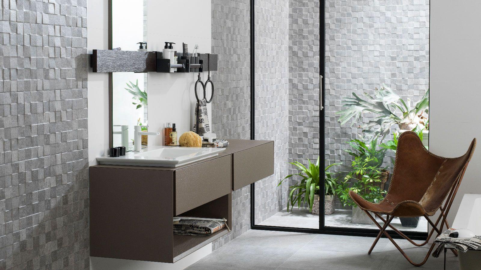 Mosaic Rodano By Porcelanosa Walltiles In Steel And Stone Interiordesign Rustic Bathroom Mirrors Home Decor Inexpensive Decor