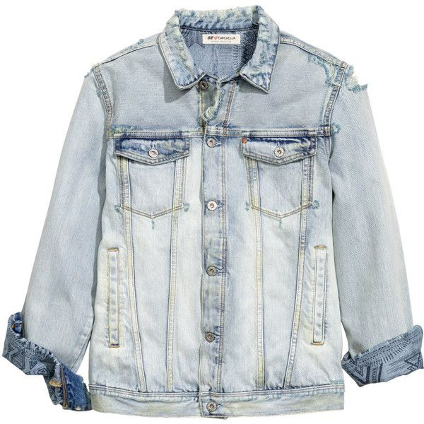 Denim Jacket $39.99 (€35) ❤ liked on Polyvore featuring outerwear, jackets, button jacket, distressed jean jacket, pattern jacket, jean jacket and flap jacket