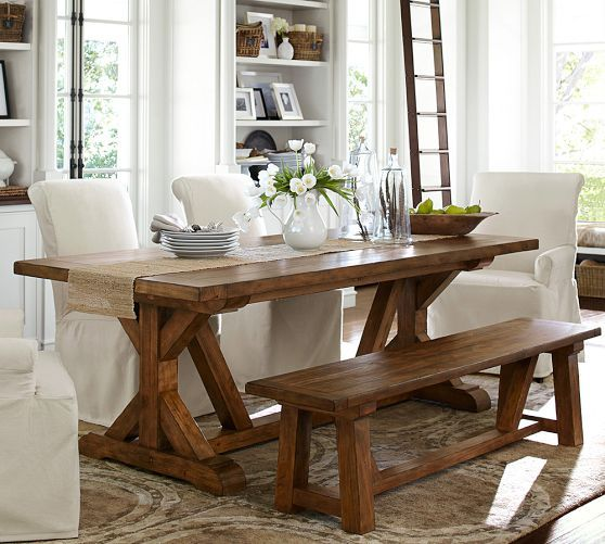 Pottery Barn Kitchen Tables | Love That Dining Table Especially The Fact There S A Bench
