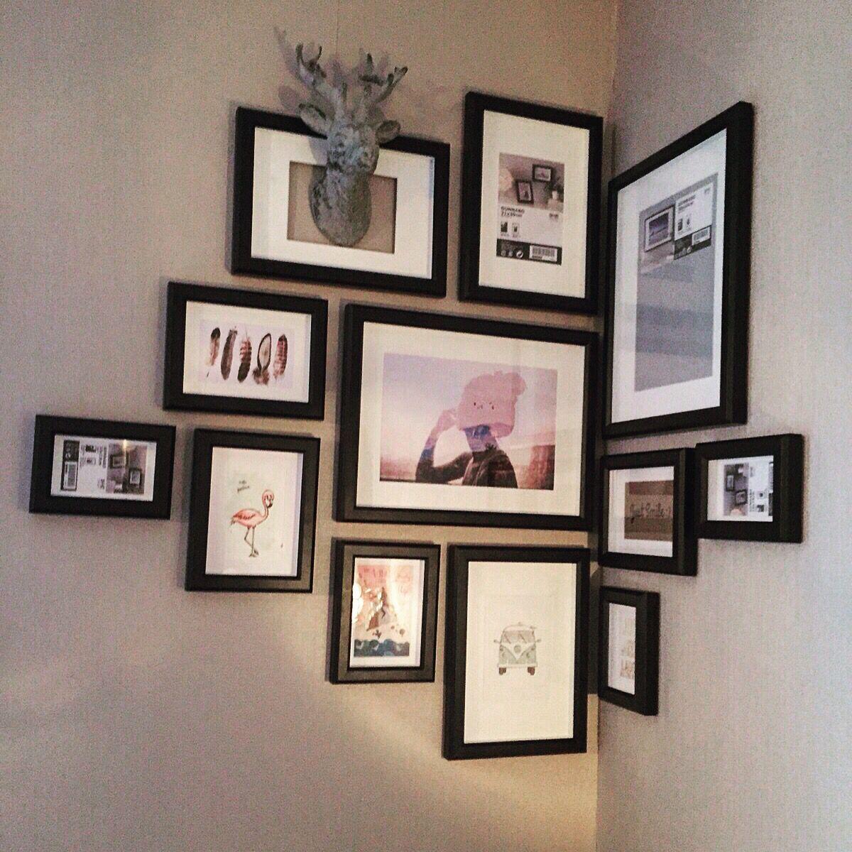 Fotolijsten Ikea creatief aan de muur. Diverse maten lijstjes ...
