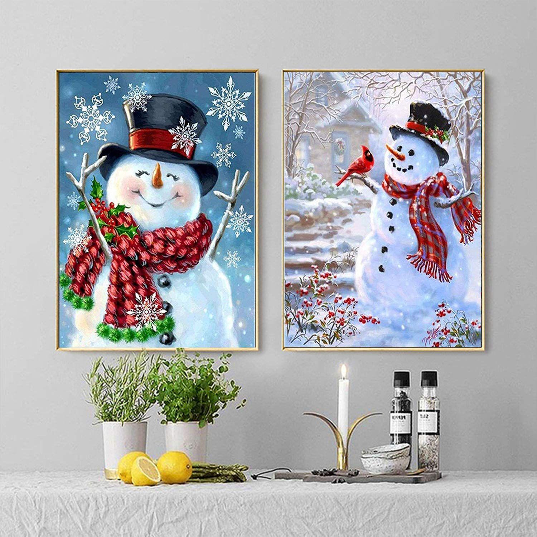 Full Drill 5D Diamond Painting SnowmanCross Stitch Kits Embroidery Home Decors