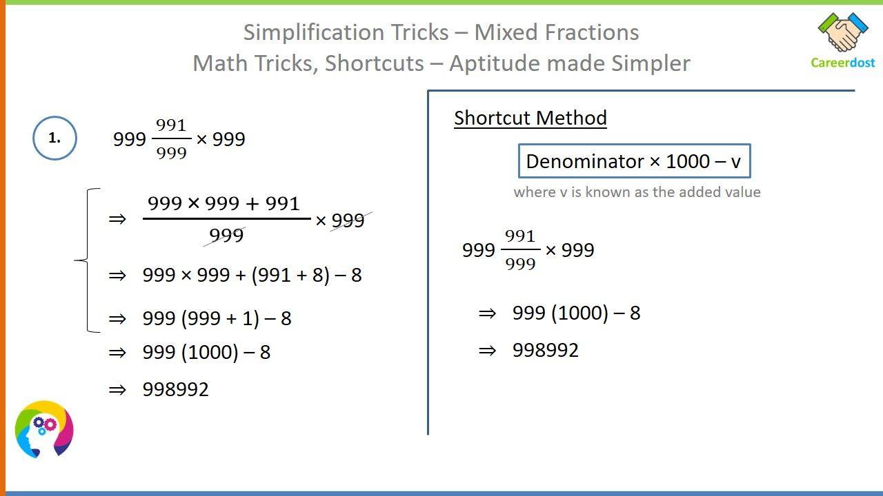 Simplification Tricks Mixed Fractions Basics Examples Shortcuts Math Tricks Math Tricks Math Fractions English Vocabulary Words [ 720 x 1280 Pixel ]