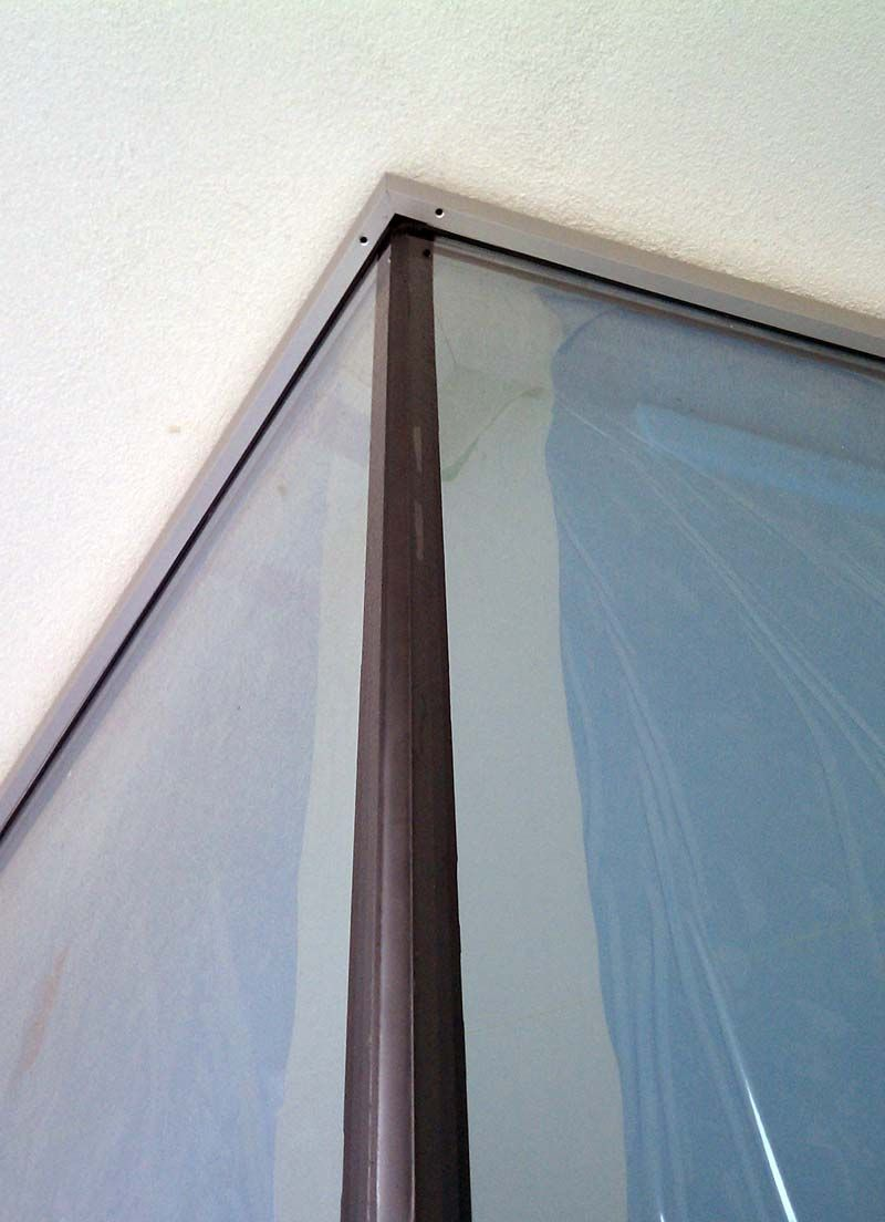 Curtain Wall Framing : Silicone joint at curtain wall window corner from the