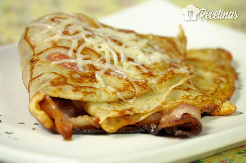 Receta De Crepes De Bacon Y Queso Receta Crepes Crepes Receta De Crepas Saladas