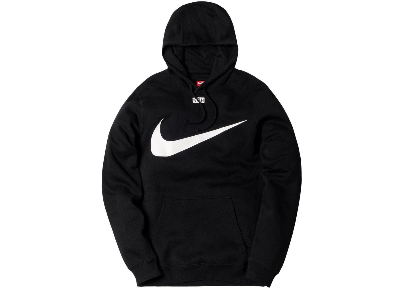 Kith Nike Swoosh Hoodie Black Nike Clothes Mens Black Hoodie Casual Jacket [ 1000 x 1400 Pixel ]