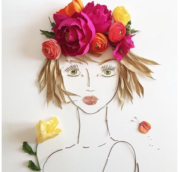 Handmade face using sticks, leaves and paper blooms -sistergoldenshop
