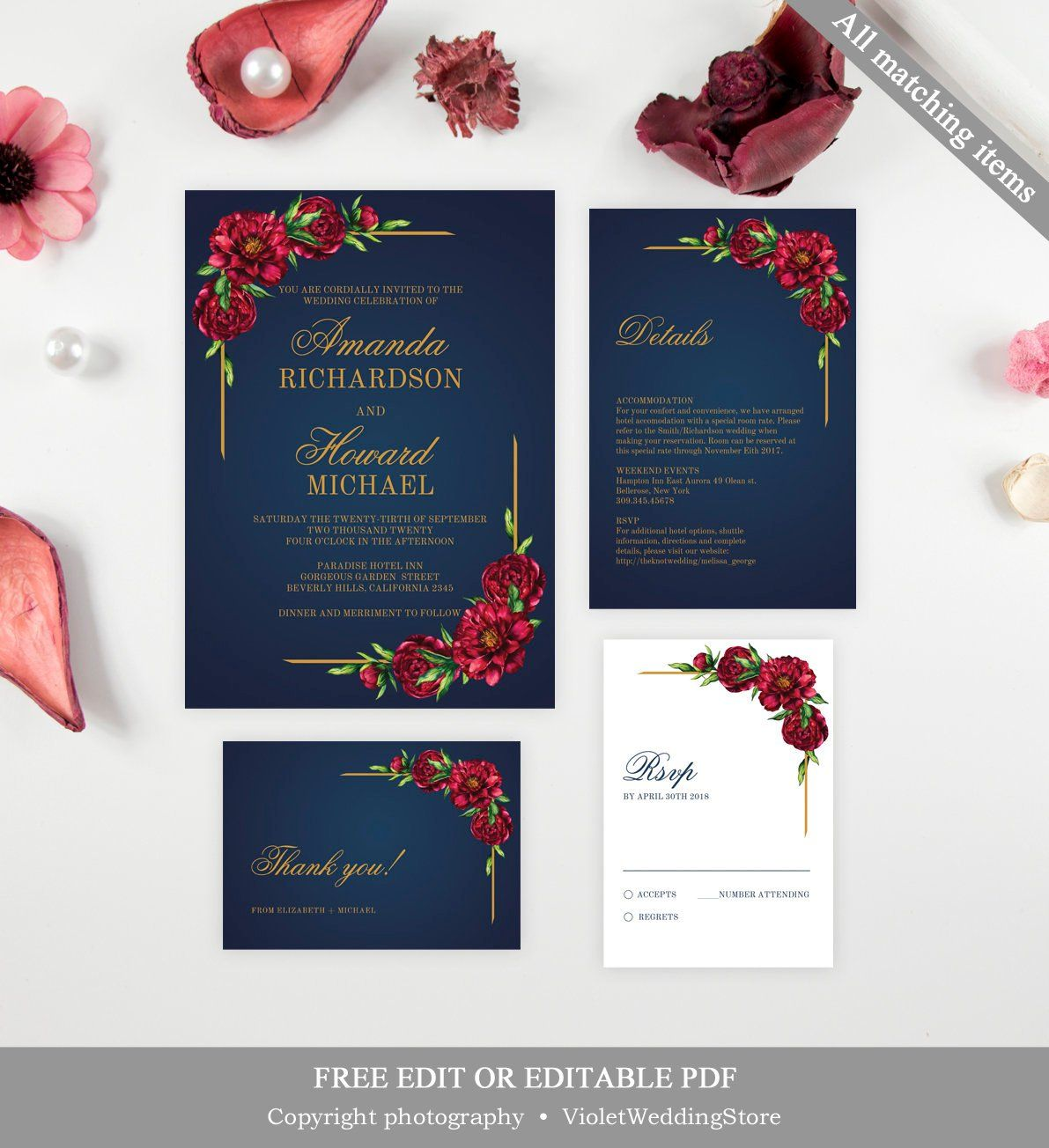 Red Peony Wedding Invitation Template Printable Navy And Gold Etsy