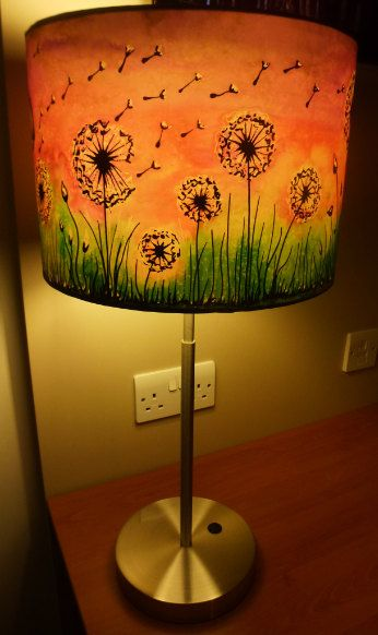 Dandelion clock mushroom hand silk painted lamp shade 30cm drum hand silk painted dandelion clock mushroom by carinathumbelina painted lamp shadesdandelion aloadofball Images