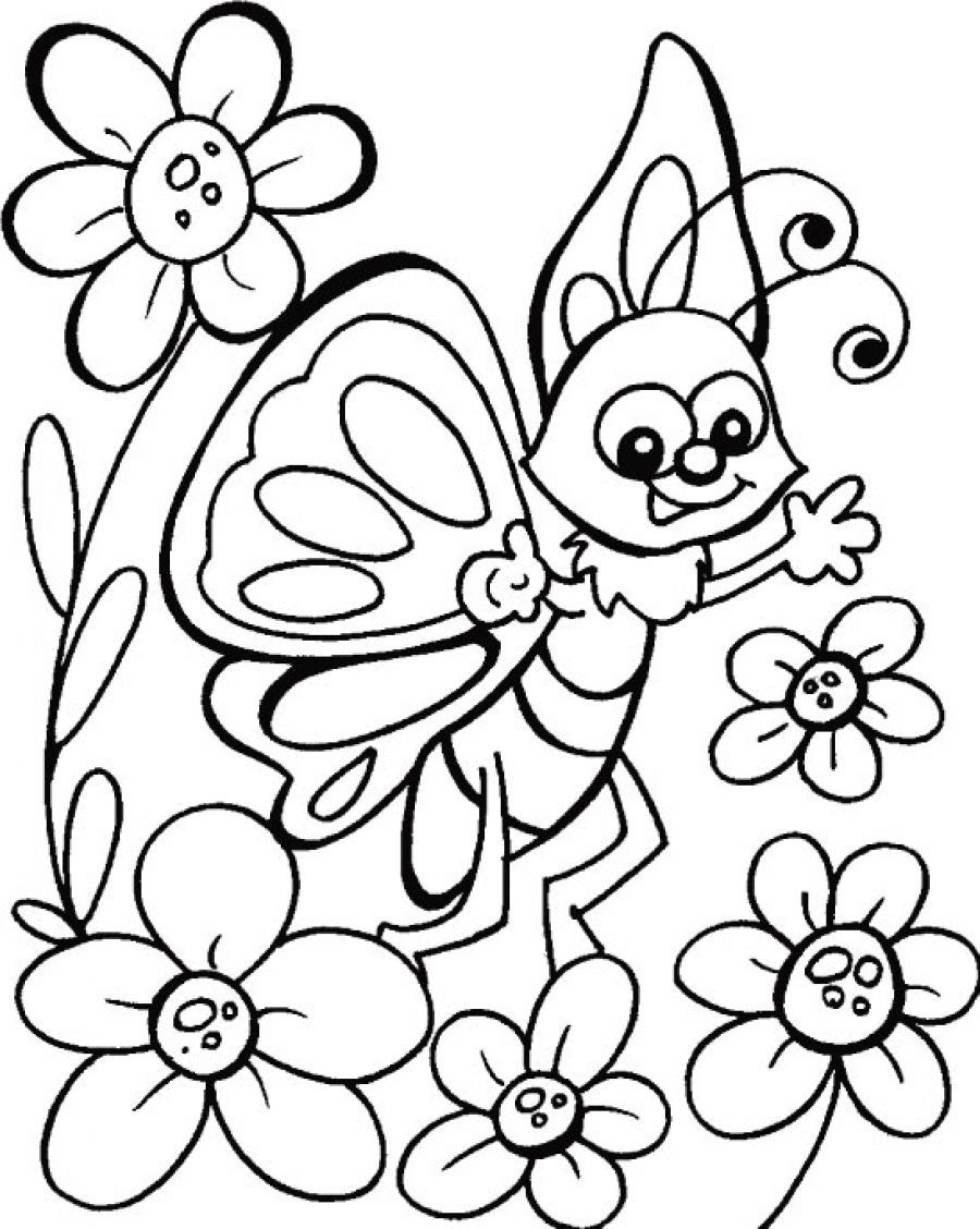 Happy Butterfly Coloring Pages For Kids