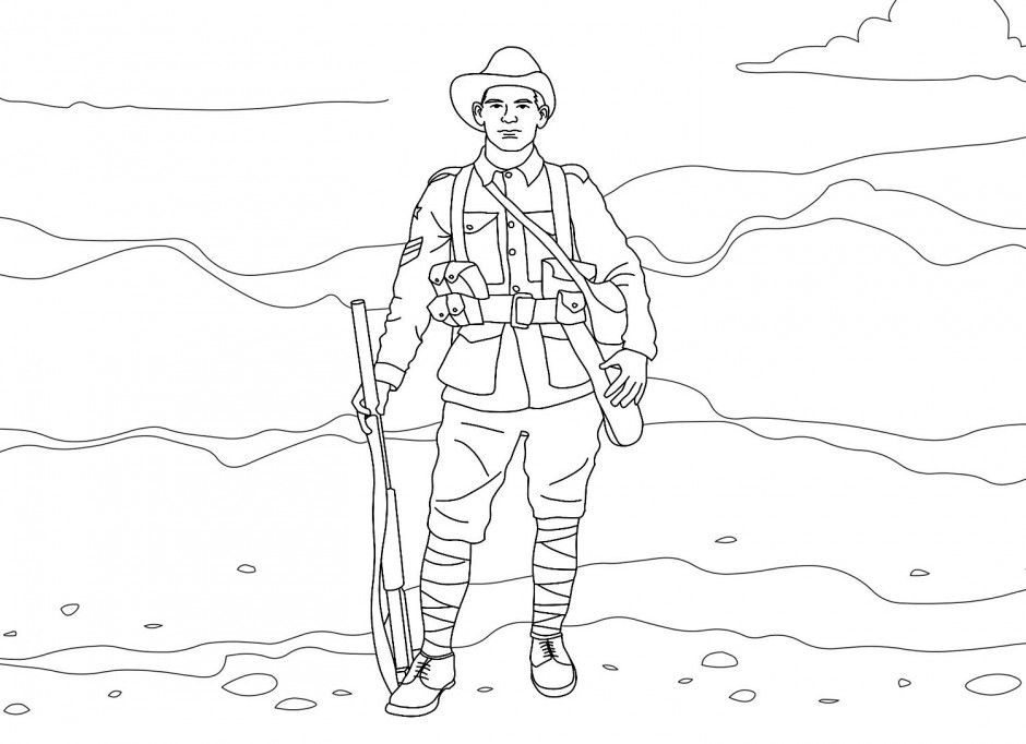 Soldier With A Weapon Coloring Pages Picture 23 Military Army Christmas Coloring Pages Anzac Day Soldier Drawing