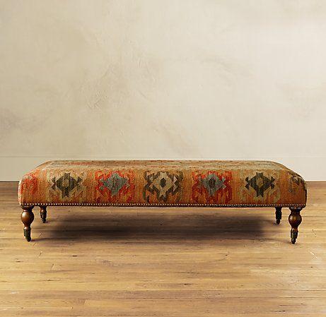 Kilim Upholstered Ottoman Coffee Table 7