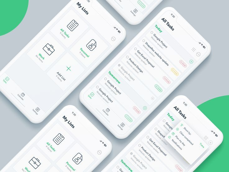 To Do Task list App Android app design, Ios app design