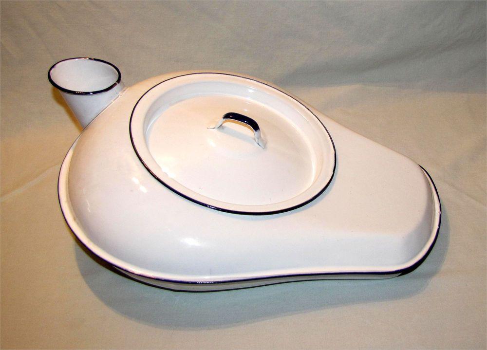 Vintage Bed Pan Urinal With Cover Porcelain Enamel Antique Hospital ...