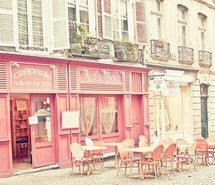Pink cafe in Paris