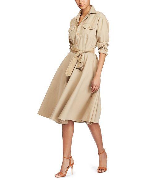 48c55a4078a0 Cotton Chino Shirtdress - Polo Ralph Lauren Midi - RalphLauren.com ...
