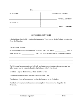 Contempt Of Court Application Template