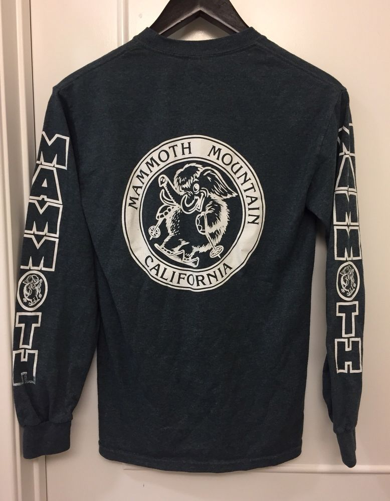 ☀Wooly☀Mammoth Mountain Ski Snowboard Long Sleeve Gray T-Shirt Sz Small  Petite  5d2387c3d0