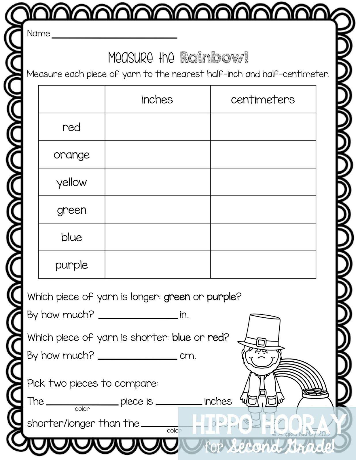 St Patrick S Day Math Freebie Measurement Worksheets 2nd Grade Math Worksheets Third Grade Math Worksheets