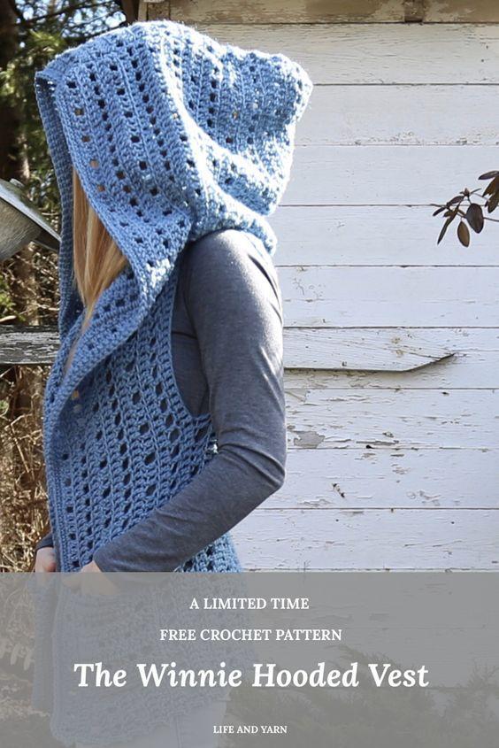 The Winnie Hooded Vest Crochet Pattern | Needlecraft | Pinterest ...