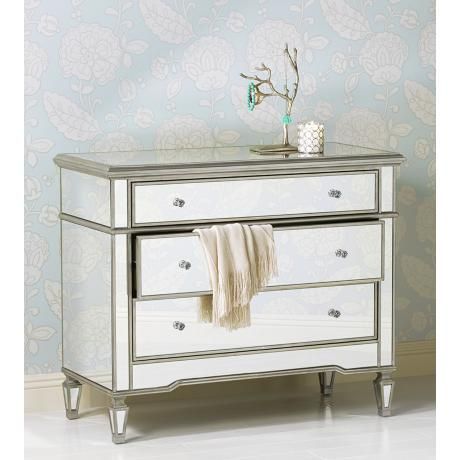 Monaco 3 Drawer Mirrored Accent Chest 35 High 42 Wide 19