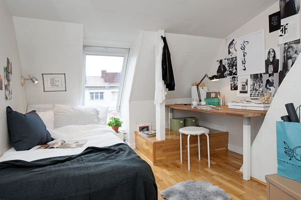 Difference between studio apartment and one bedroom  17 images about  Mansarda SottotettoAttic on Pinterest. Small apartment bedroom