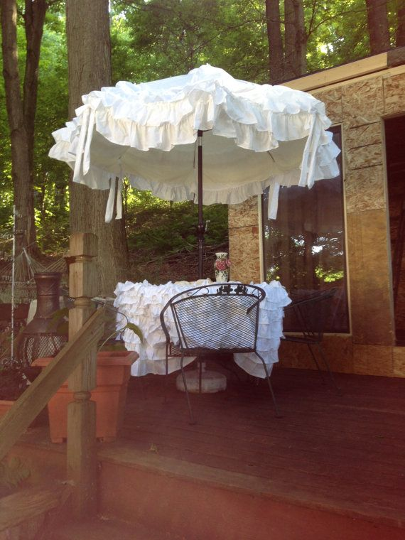 6 Foot White Umbrella Cover Reserved For Suzanne By RhoadasRuffles