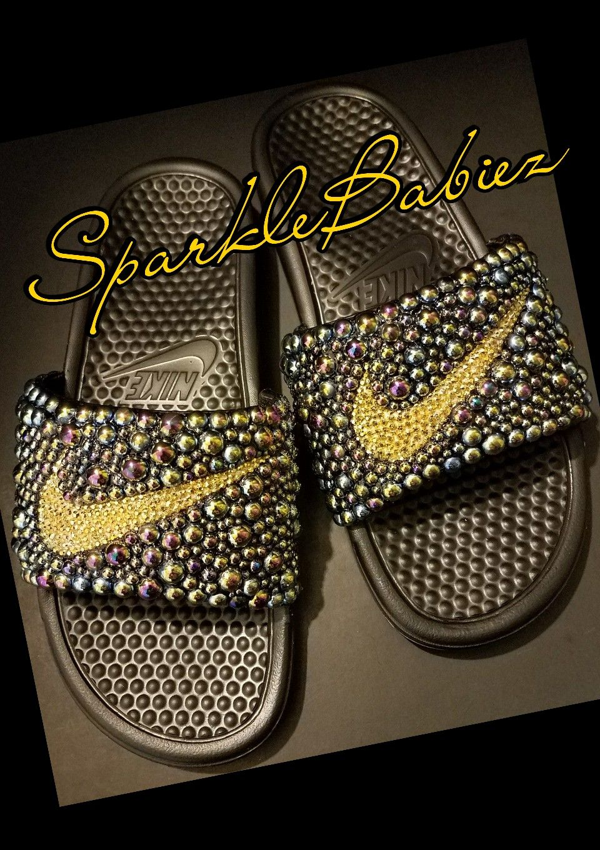 Custom Bling De Pearl Nike Sparklebabiez Sandalias De Bling Diapositivas e4dfe5