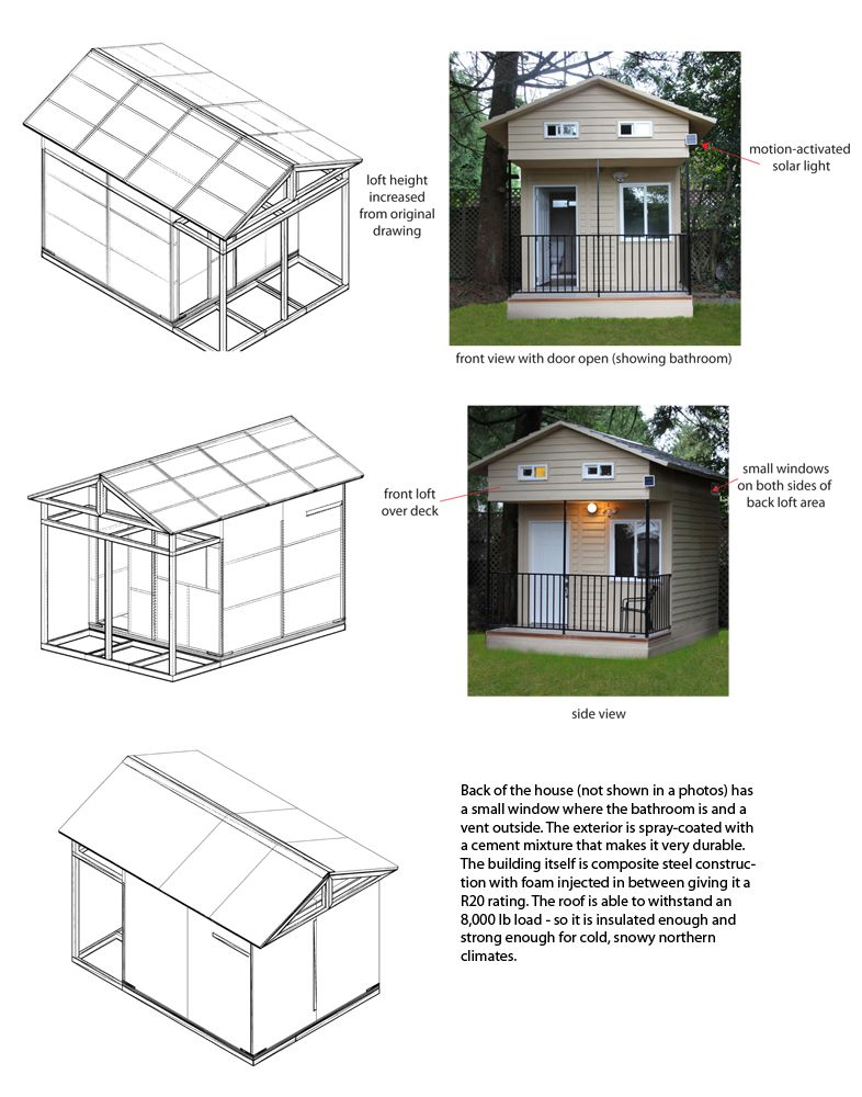 The Eagle Microhome A 350 Sq Ft Two Floor Tiny House Using Modular Composite Steel Technology For Affo Tiny House Loft Tiny House Exterior Tiny House Cabin