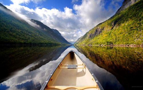 paddling down a still river