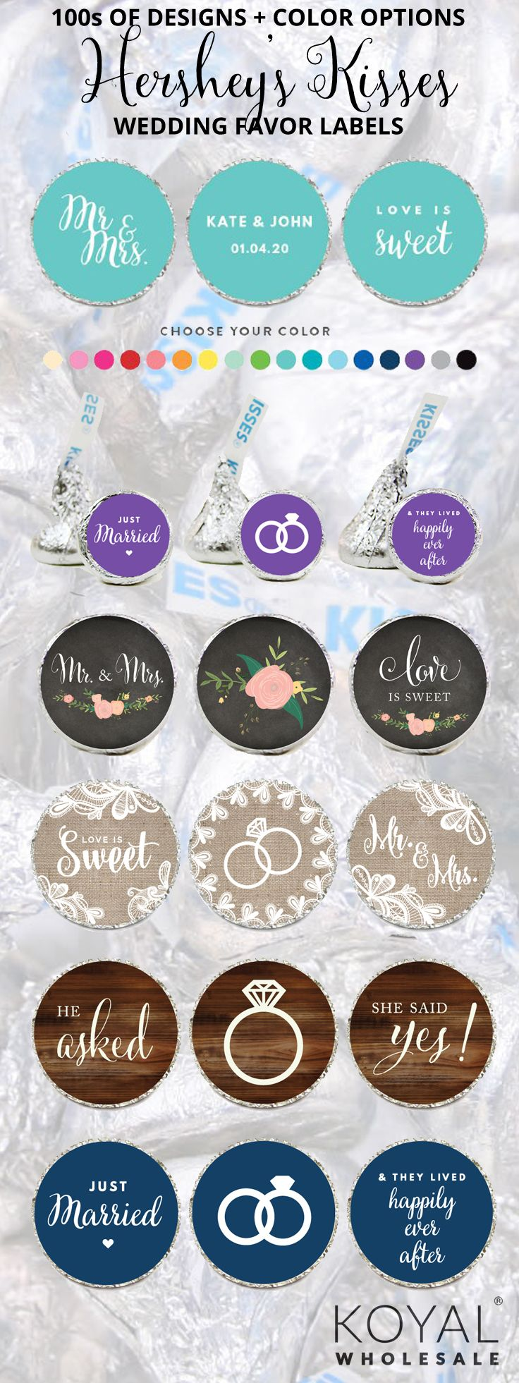 100s of Styles of Hershey Kisses Favor Sticker Labels for DIY Favors ...