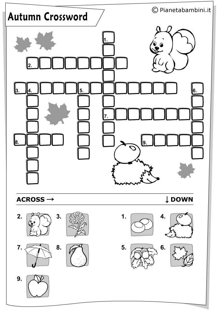 15 Cruciverba In Inglese Per Bambini Da Stampare Con Soluzioni