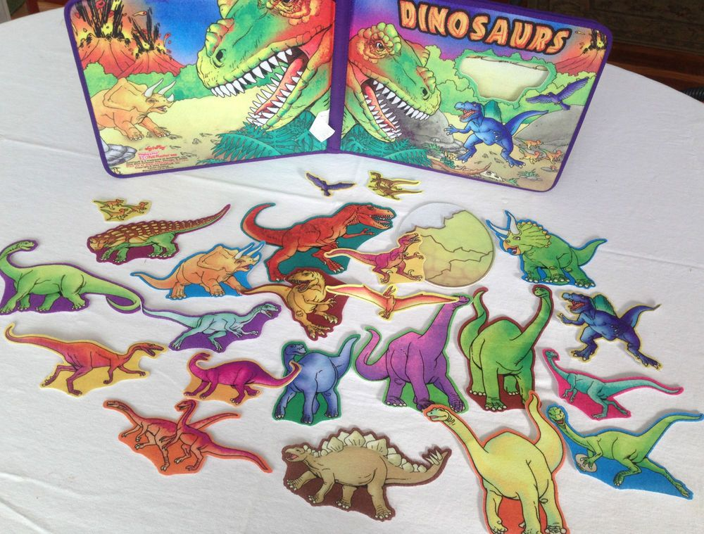 Softplay 3D Felt Playset Book Dinosaur + 24 Prehistoric Dinosaurs Play Large Set #SoftPlay