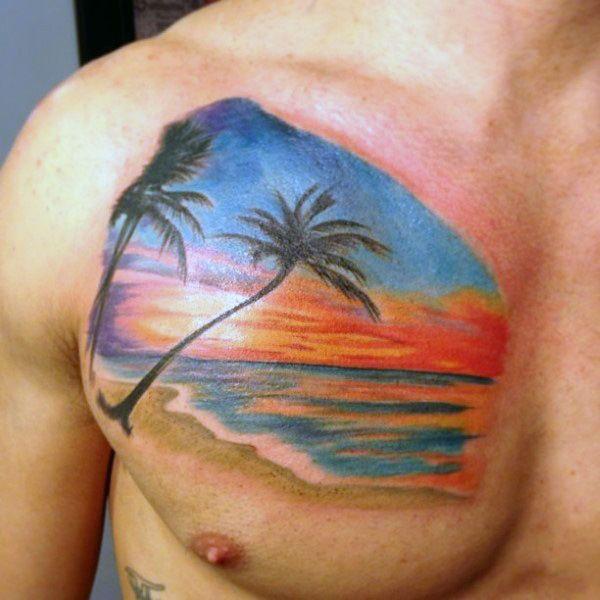 Sunset Chest Tattoos For Men