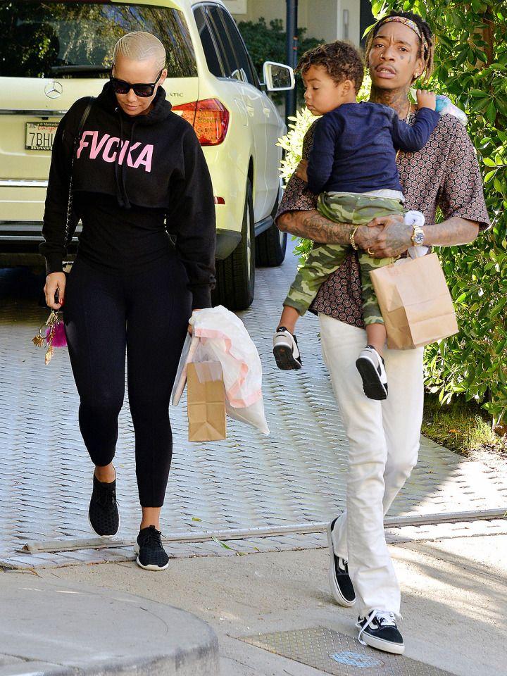 Amber Rose and Wiz Khalifa take son Sebastian out for a