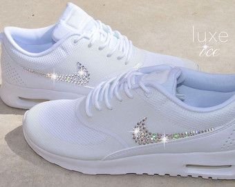 Nike Roshe One White/White with SWAROVSKI® Xirius Rose-Cut Crystals.