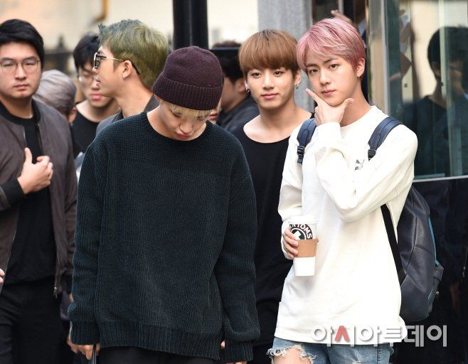 V, Jungkook and Jin ❤ BTS Arrival at KBS Music Bank (Comeback stage today) #BTS #방탄소년단