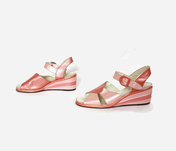 671dd09de6cca9 Vintage 50s Pearly Pink Sandals   1940s Two-Tone Open Toe Ankle Strap Wedge  Heels 8  50sfashion