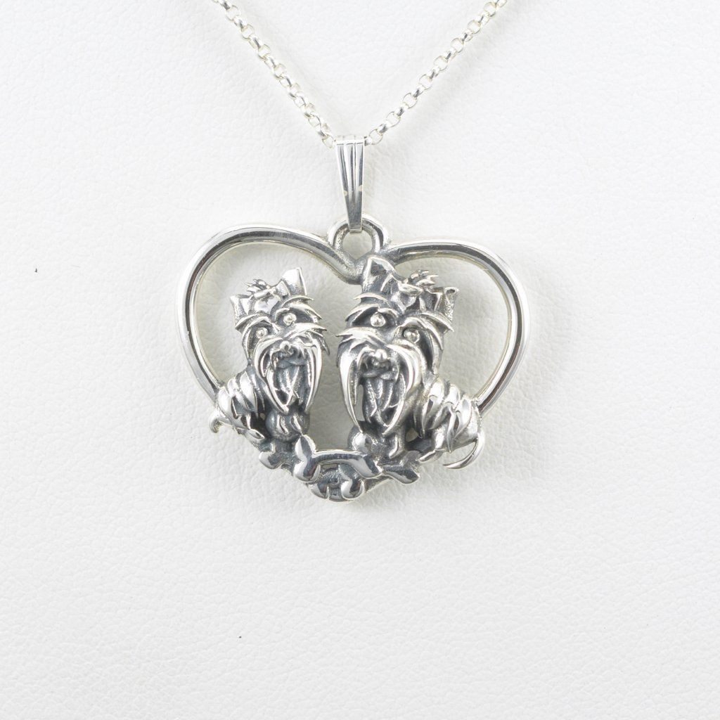 Sterling silver yorkshire terrier necklace silver yorkie pendant fr sterling silver yorkshire terrier necklace silver yorkie pendant fr donna pizarros animal whimsey collection of aloadofball Gallery