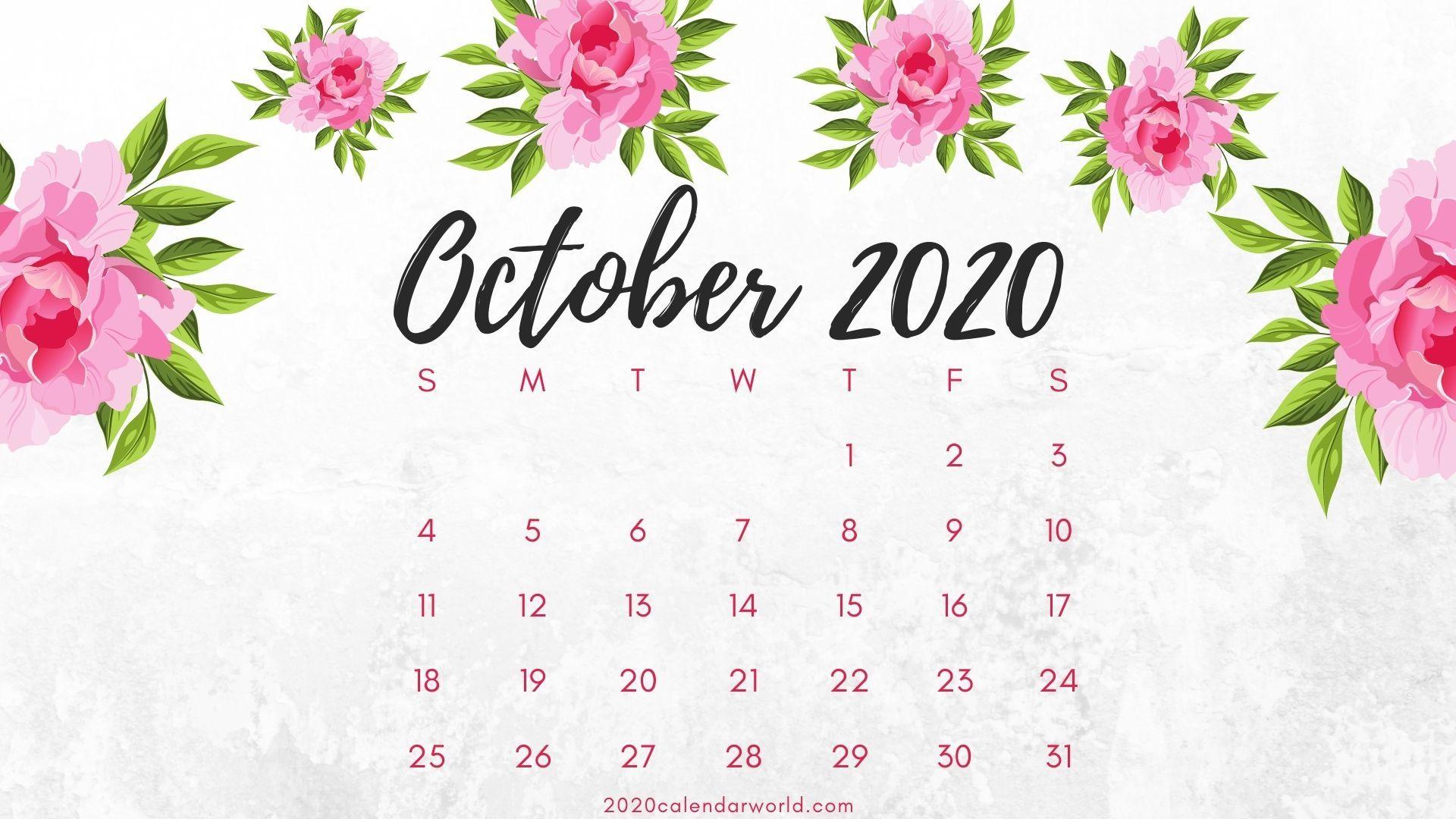 Floral October 2020 Desk Calendar Free Download Desk Calendars Flower Calendar Cute Calendar