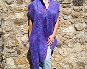 Felted Violet Purple Wool Shawl and Brooch (set)
