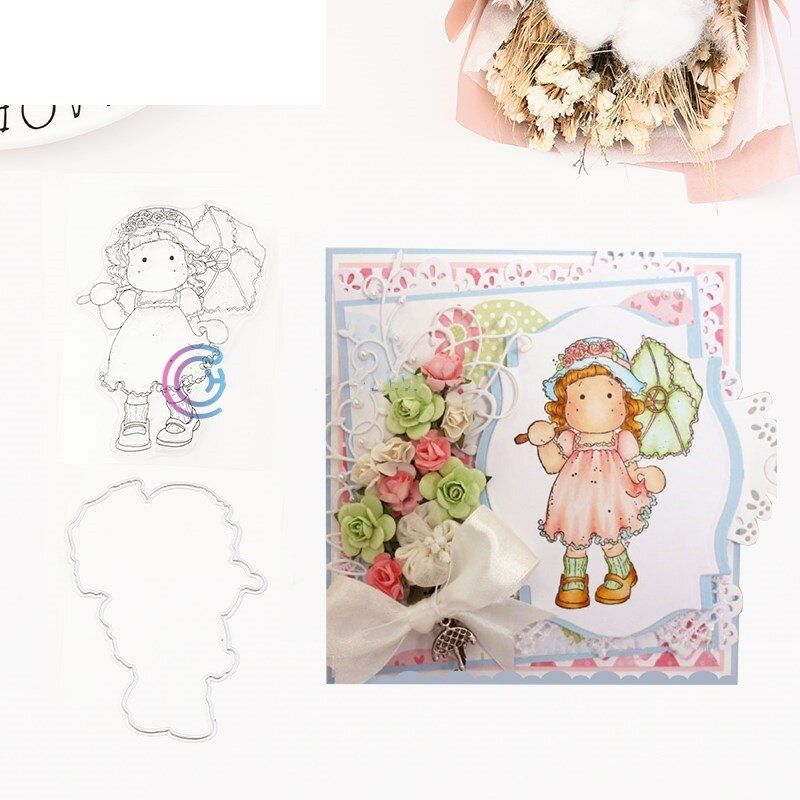 Cards Paper DIY Crafts Girl Clear Stamps Scrapbooking Cutting Dies Stencils