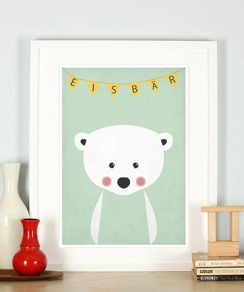 Retro Poster, Eisbär, Kinderzimmer, Bild, Druck von