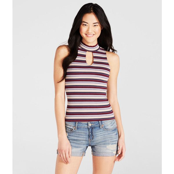 f994ed74be4258 Aeropostale Striped Ribbed Mock-Neck Tank ( 6.99) ❤ liked on Polyvore  featuring tops