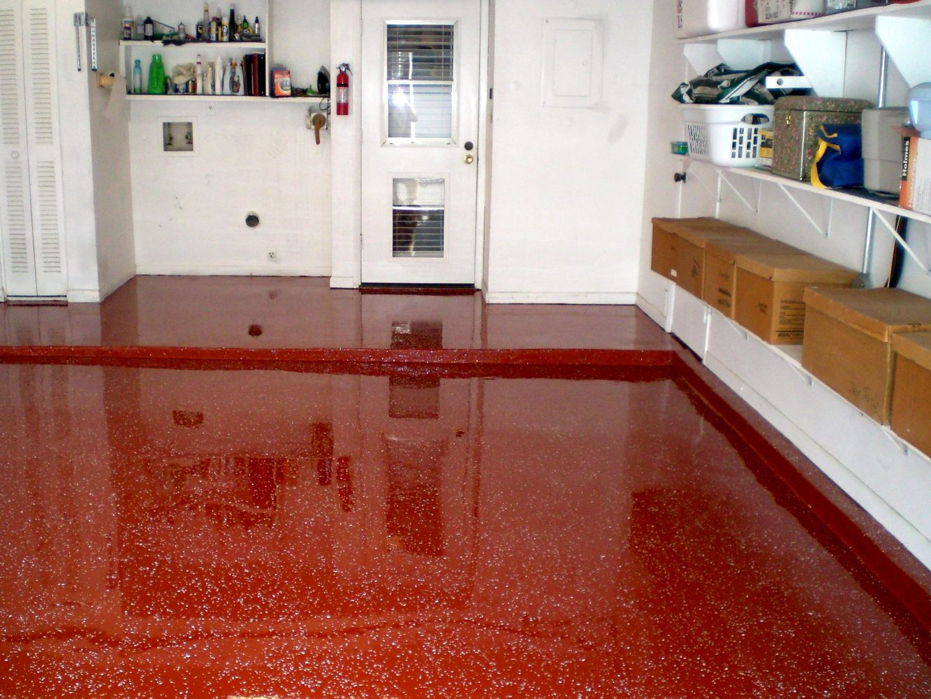 Its A Bit Daring But Every Client Who Ordered Red Epoxy Garage Floor Has Never Flooring Garages From Left To Right Ya Gotta Admit This Now