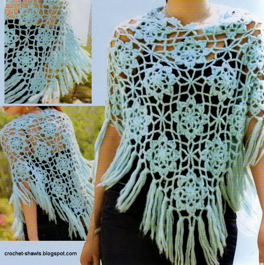 free lacy poncho crochet patterns | Crochet Poncho For Spring - Free ...