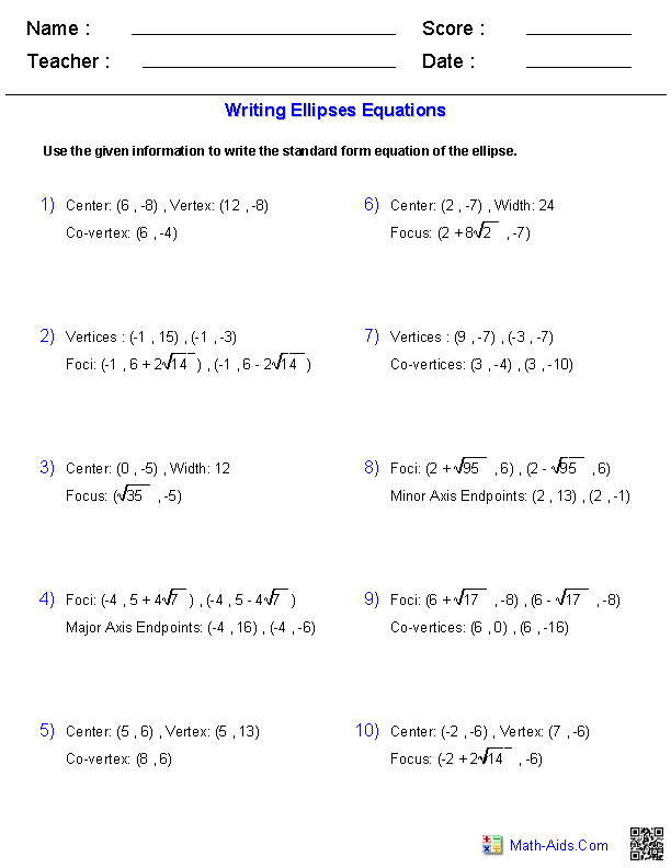 Writing Equations of Ellipses Worksheets – Hyperbola Worksheet