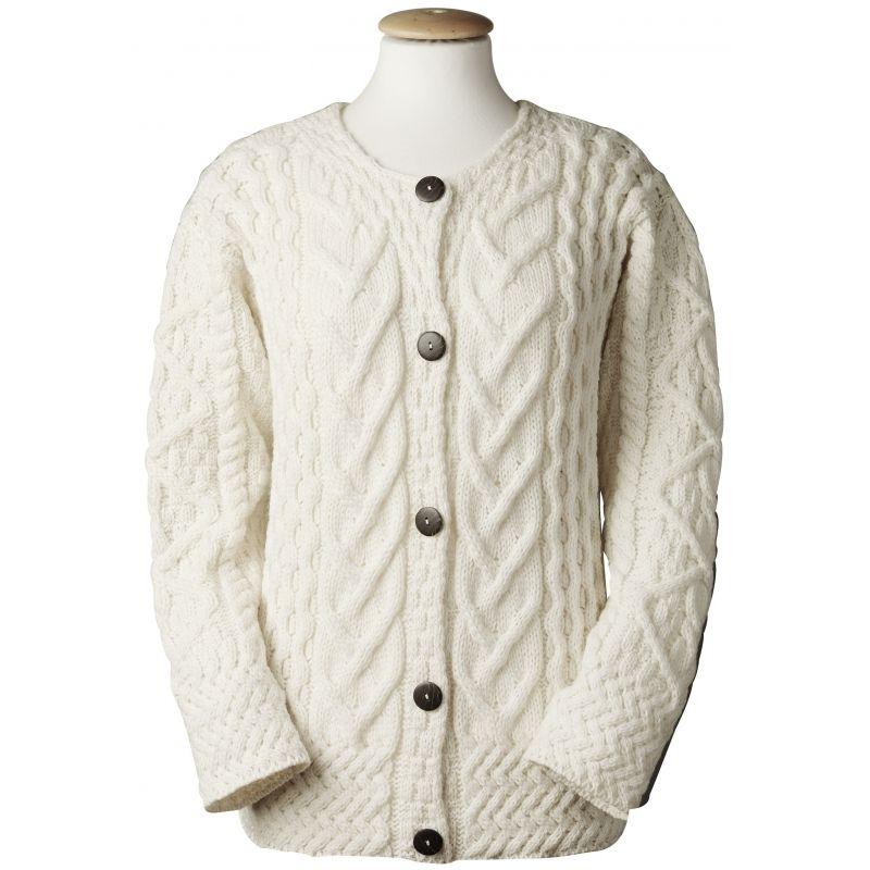 Aran Cable Knit Cardigan | Wool sweaters womens, Irish knit